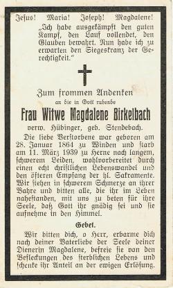 Rückseite - Sterbebildchen von Frau Witwe Magdalene Birkelbach.