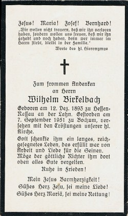 Rückseite - Sterbebildchen von Wilhelm Birkelbach.