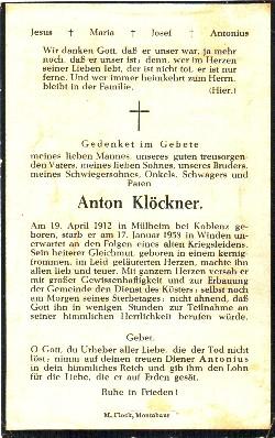 Rückseite - Sterbebildchen von Herrn Anton Klöckner.