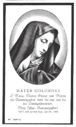 Vorderseite - Sterbebildchen von Frau Witwe Magdalene Birkelbach.